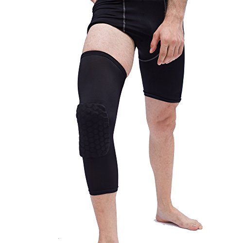 Reachs Strengthen Kneepad Honeycomb Knee Pads Crashproof Antislip Basketball Leg Knee Sleeve Protective Pad Support Sleeve Guard Padded Breathable Compression Wear Hexpad
