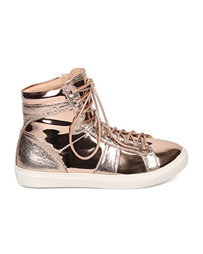 Sneaker High Metal Metallizzata Da Donna Liliana - Casual, Urban, Street Fashion - Sneaker Allacciata - Gd89 By Gold Rose