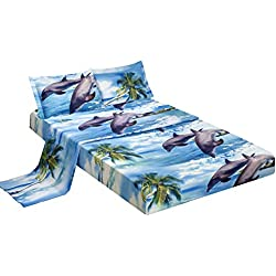 Bednlinens Luxury 4 Piece Sheet Set 3d Dolphins and Palm Tree Print Queen King (King, DOLPHIN-D12)