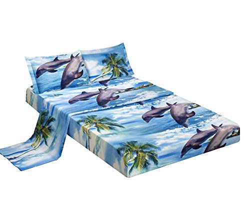 - BEDnLINENS HIG 3D Bed Sheet Set -4 Piece 3D Dolphin and Palm Tree Printed Sheet Set Queen Size (D12) - Soft, Breathable, Hypoallergenic, Fade Resistant -Includes 1 Flat Sheet,1 Fitted Sheet,2 Shams