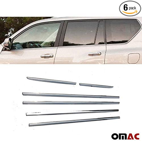 Stainless Steel Chrome Side Window Sill Overlay Cover Trim 6 Pcs for Toyota Land Cruiser Prado 2010-2020