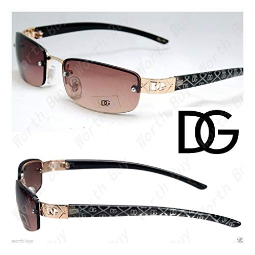 - DG Eyewear Rimless Small Rectangular Womens Sunglasses Shades Wrap Retro Vintage