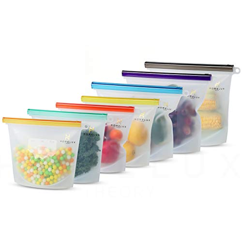 Homelux Theory Reusable Silicone Food Storage Bags | Sandwich, Sous Vide, Liquid, Snack, Lunch, Fruit, Freezer Airtight Seal | BEST for preserving and cooking | (3 Large + 4 Medium)