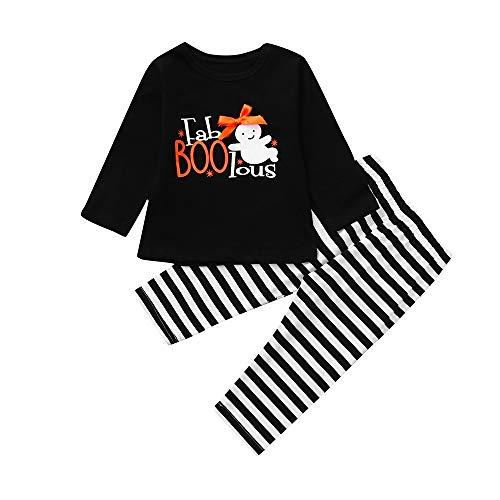 Suma-ma Halloween Girls Set,Striped Cartoon Print T-Shirt Tops+Pants Set Clothes for Children Girls (18-24 Months, Black)