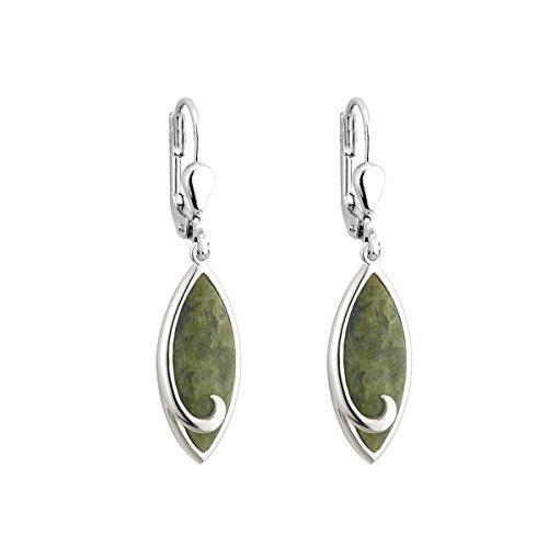 Solvar Irish Jewellery - Rhodium Plated Connemara Marble Droplet Drop Earrings