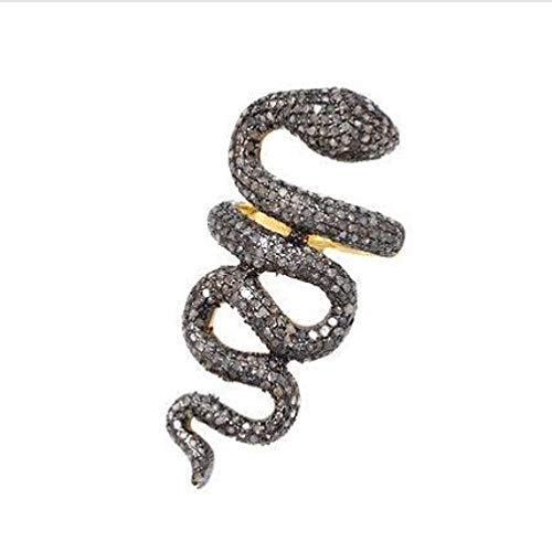 - Victorian style 3.77ctw Pave diamonds Ruby sterling silver Snake Serpent Statement Ring