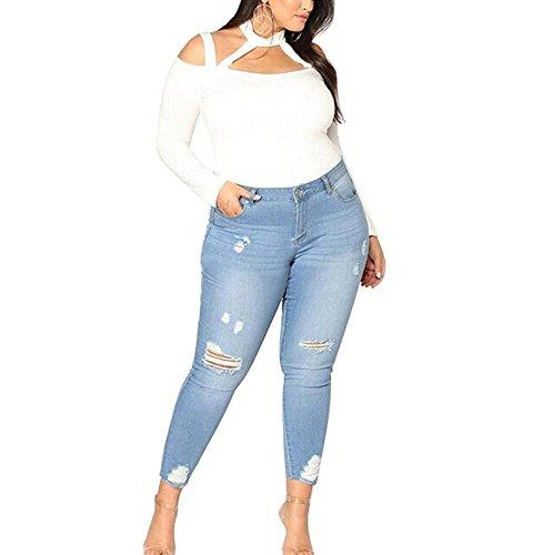 Hellomiko Pantalones de mezclilla de alta cintura Skinny Ripped Super Stretch Casual Jeans Plus Size Azul Claro
