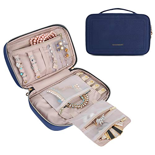 BAGSMART Travel Jewelry Storage Cases Jewelry Organizer Bag for Necklace, Earrings, Rings, Bracelet, Smokey Blue ()