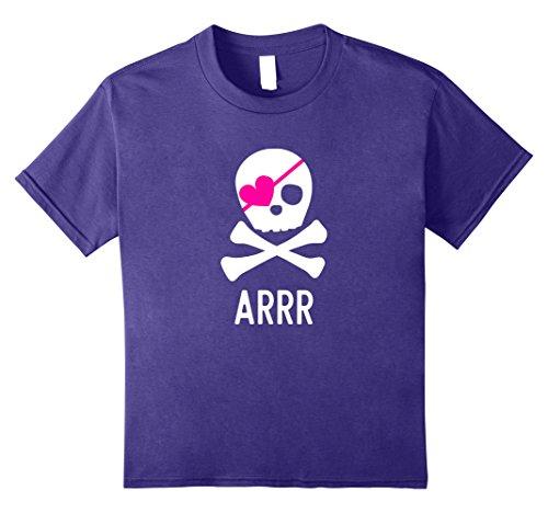 Kids Pirate Shirt for Girls Pink Heart Skull and Crossbones shirt 8 Purple for $<!--$18.99-->