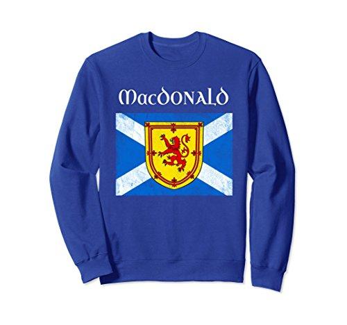 Unisex MacDonald Scottish Clan Name Sweatshirt Scotland Flag XL: Royal (Macdonald Clan Shop)