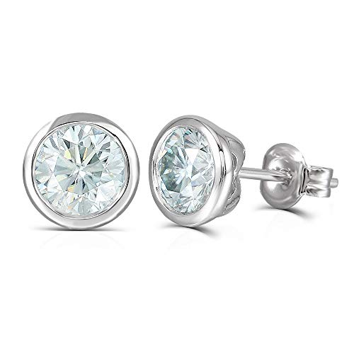 DovEggs 10K White Gold Post 2ct 6.5mm Blue Moissanite Stud Earring Bezel Setting Platinum Plated Silver Push Back for Men and Women