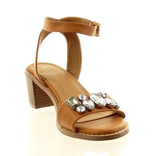 Sopily - Zapatillas de Moda Sandalias Tobillo mujer joyas Hebilla Talón Tacón ancho 6 CM - Camel