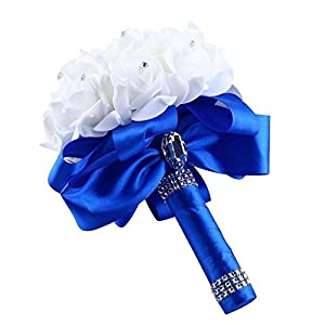 Artificial Flower, FTXJ Crystal Roses Pearl Bridesmaid Wedding Bouquet Bride Holding Silk Flowers 26