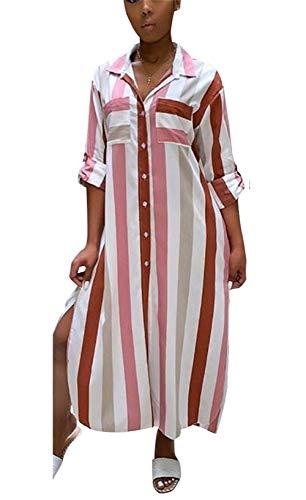 (Womens Rainbow Stripe Print Shirt Dress Casual Botton Down Long Maxi Dress (No Belt))