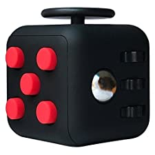 CPEI Mini Fidget Cube Stress Cube, Relieves Stress And Anxiety Toy Fidget Cube fidget spinner (Black/Red, Same Size)