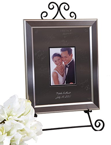 Signature Keepsakes Frame Engravable Signature Mat Guest Book, Small, Silver/Titanium (Keepsake Platter Signature)