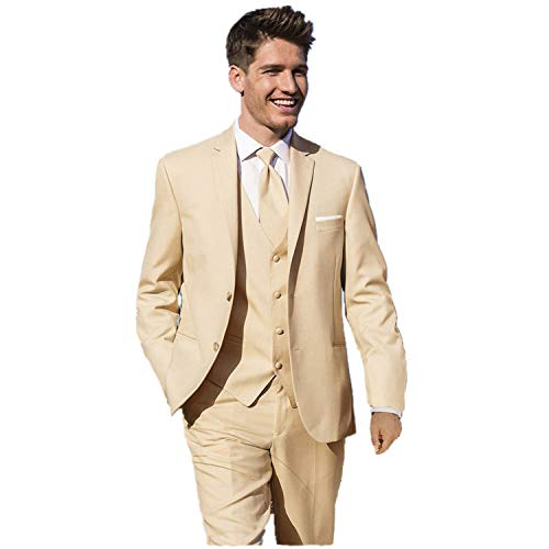 MYS Men's Custom Made Bridegroom Wedding Tuxedo Suit Pants Vest Tie Set Beige Tailored