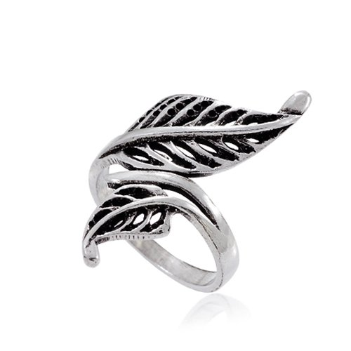 925 Oxidized Sterling Silver Vintage Nature Inspired 35 mm Leaves Wrap Around Ring - Size 7 - Sterling Silver Wrap Ring