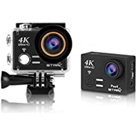 Sports Action Camera 4K Waterproof, [Wifi Sports Camera] Full HD 4K 60fps 30fps 1080p Video Camera 12MP Photo and 170 Wide Angle 6G Lens Underwater Remote Digital Camera Accessories Kit (Black)