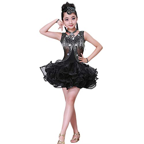 Children's Dance Costumes, Bright Diamond Tutu Latin Lombard Dance Clothes, Suitable for Stage Performance/Competition/National Standard Dance Test (110-170cm) -