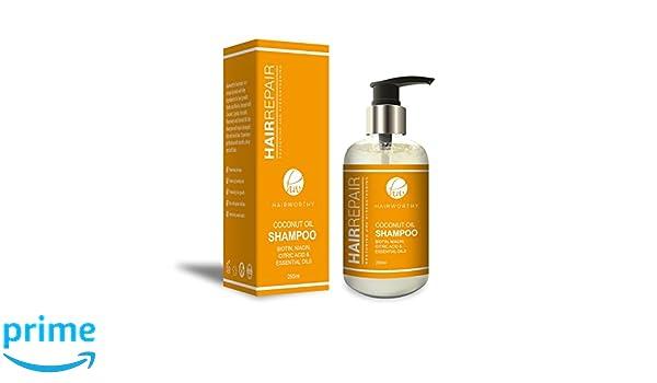 Hairworthy Hairrepair Shampoo / Champú De Aceite De Coco - BIOTINA, NIACINA, ÁCIDO CÍTRICO Y ACEITES ESENCIALES.: Amazon.es: Belleza
