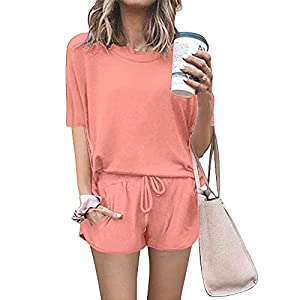 PRETTYGARDEN Women's Summer Two Piece Outfits Lounge Pajamas Sets Short Sleeve T Shirts and Shorts Active Wear…