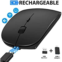 Rechargeable Wireless Mouse, noximi 2.4G Slim Silent Click Optical Mouse with USB Receiver (at Bottom of The Mouse) Compatible with Mac, Notebook, Laptop, Computer