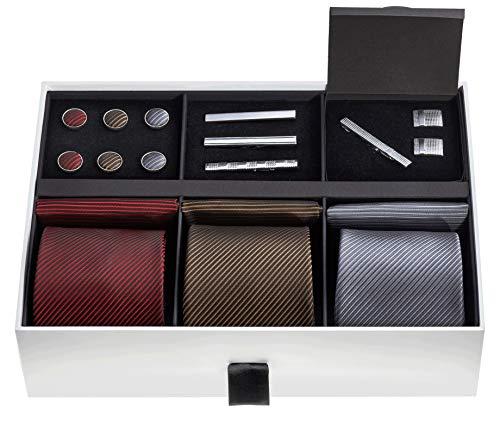 (Premium Men's Gift Tie Set - Silky Necktie Pocket Squares Tie Clips Cufflinks For Men)