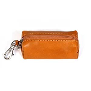 Tony Perotti Italian Bull Leather Top Zippered Key Holder Case, Honey