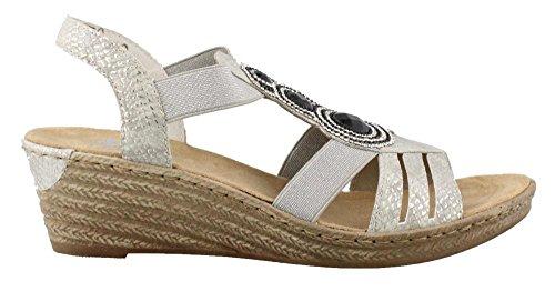 Rieker 62 Mussurana 80 Womens Sandalo Bianco 459 Elastico Beige wqRFwxz