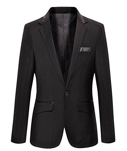 Mens Slim Fit Casual One Button Blazer Jacket (L, 301 Black) (Jacket Size Chart Mens compare prices)