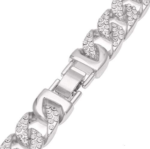 (GAOLIAN Hand Hip hop Men's Jewelry Diamond Cuban Bracelet Gold and Silver)