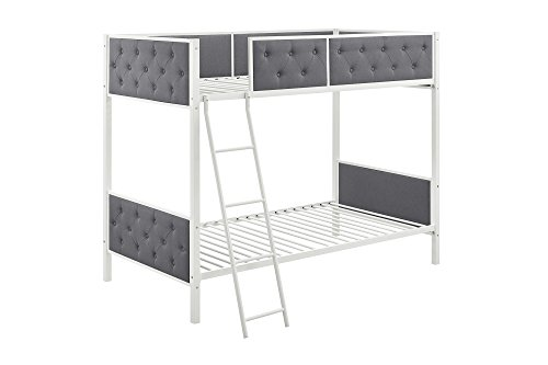 (DHP Chesterfield Upholstered Linen Bunk Bed, Twin Size - White Metal/Grey Upholstery)