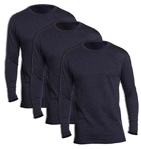 Duofold KMW1 Men's Midweight Thermal Crew Medium Navy (Pack of 3) (Duofold Cotton Jersey)
