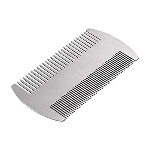 Beard Comb, Mustache Comb with Fine & Coarse Teeth for Men by HAWATOUR – Stainless Steel