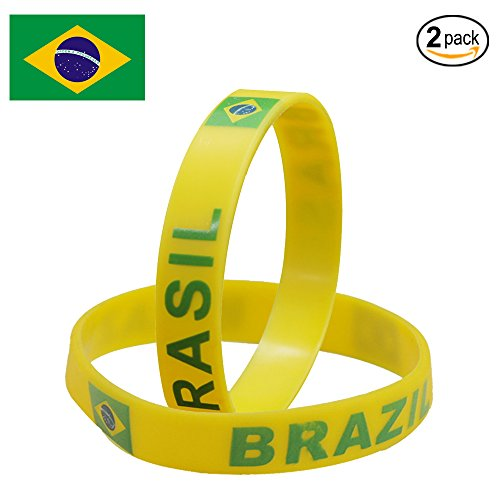 IDL World Cup Wrist Bands,Wroldcup Football Bands Custom Embossed Saying USA&National Flag,Perfect for Fitness, Basketball, CrossFit, Sports & Task (Band - BRAZIL)