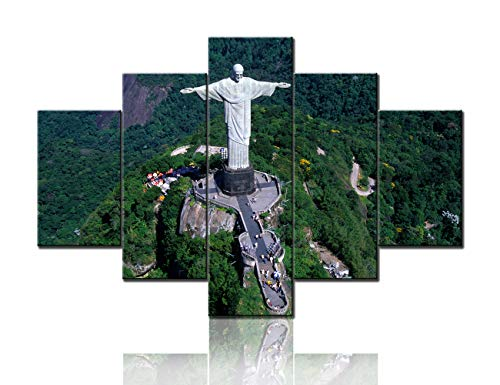 Christian Pictures for Wall Living Room Corcovado Mountain Wall Art Christ the Redeemer Paintings Seven Wonders of the World Home Decor 5 Pcs Canvas Modern Artwork Framed Ready to Hang(60''Wx40''H) ()