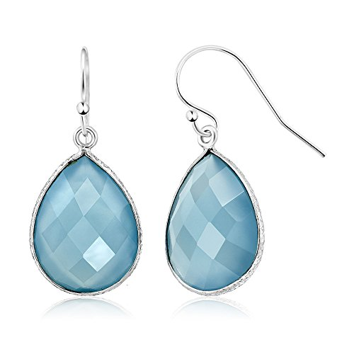 14.00 Ct Blue Agate 16X12MM Pear Shape 925 Sterling Silver Dangle - Agate Agate Earrings Blue