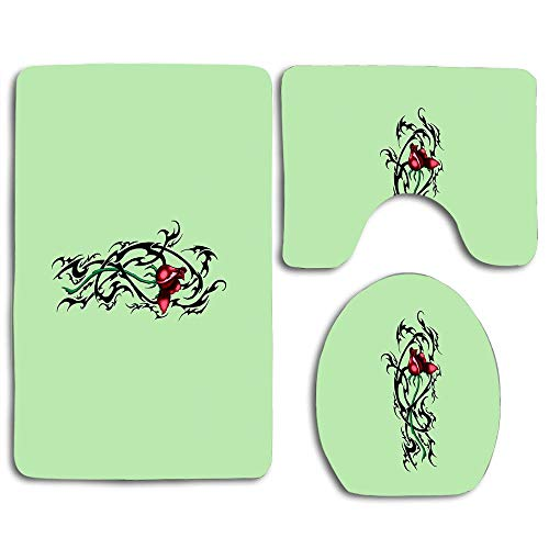 NEWcoco 3PCS Toilet Carpet Mats Seat Cushion Cover Doormat Tribal Thorn Rose