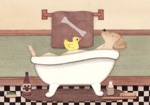 Retriever Print (Golden Yellow labrador retriever (lab) fills tub at bath time / Lynch signed folk art print)