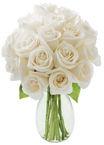KaBloom Bouquet of Long Stemmed White Roses (Dozen and a Half) - With Vase