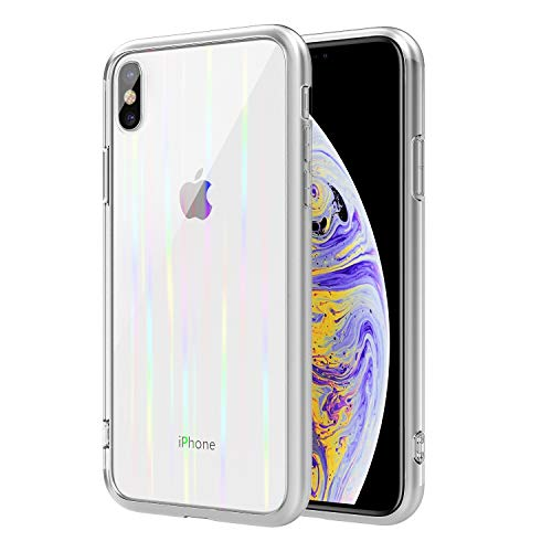 MoKo Compatible with iPhone Xs Max Case, 9H Tempered Glass Back TPU Bumper Anti-Scratch Full Protective Transparent Back Panel Compatible with Apple iPhone Xs Max 6.5 inch 2018 - Clear Colorful