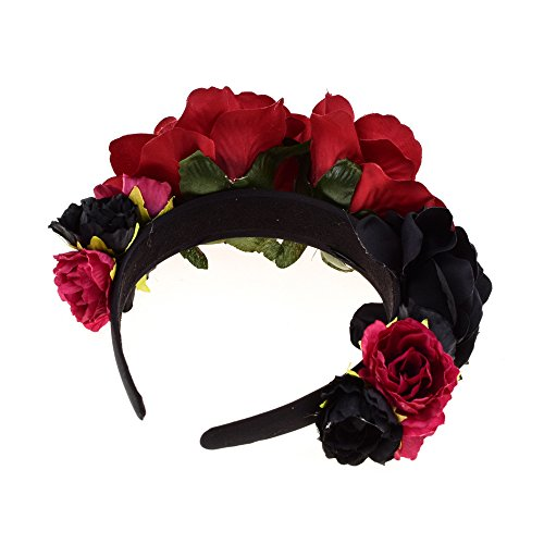 DreamLily Day of The Dead Headband Costume Rose Flower Crown Mexican Headpiece BC40 (Black Red) ()