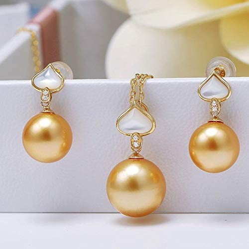 9-11 mm Precious South-Sea Cultured Pearl Set of Pendant Necklace & Earrings with 18k Solid Gold