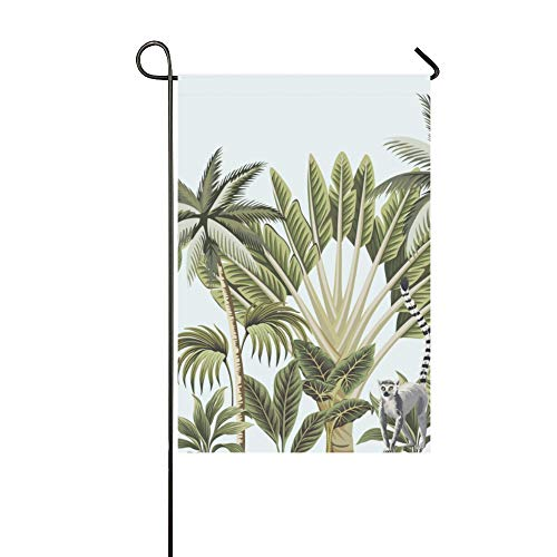 WIEDLKL Home Decorative Outdoor Double Sided Tropical Vintage Animals Toucan Flamingo Palm Garden Flag House Yard Flag Garden Yard Decorations Seasonal Welcome Outdoor Flag 12x18in Spring Summer Gift