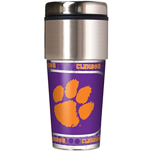 Great American NCAA Clemson Tigers 16 oz Travel Tumbler with Metallic Wrap