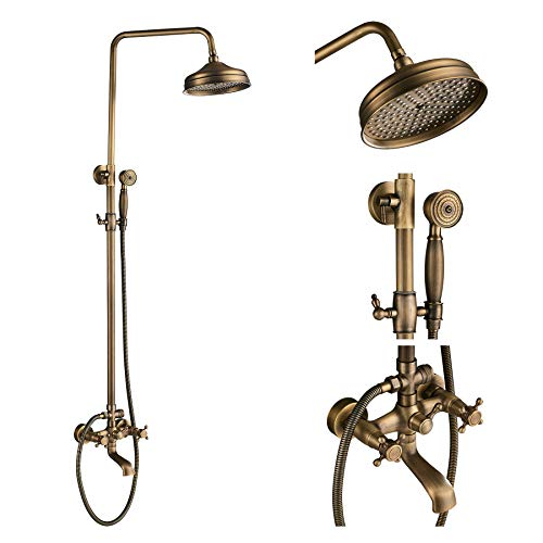 (Rozin Wall Mounted Bathroom Rainfall Shower Set Tub Mixer Tap with Hand Sprayer Antique Brass)