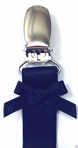 (SHORT) Set of 4 Adjustable Lingerie Leg Garter Straps, Silver Metal Clips (Set of 2 Black)