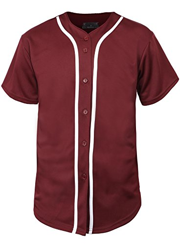 Hat and Beyond Mens Baseball Jersey Button Down T Shirts Hipster Plain Hip Hop 1UPA02 (Small, 01 Burgundy/White) ()