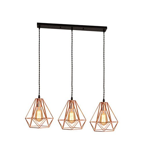 Gold Diamond Chandelier - Onfly Iron Hollow Pendant Lamp Prism/Diamond Chandelier Electroplated Rose Gold Single Head/3 Head Hanging Lamp Restaurant/clothing Store Deco Lights(without Bulb) (Color : 3 head rectangle)
